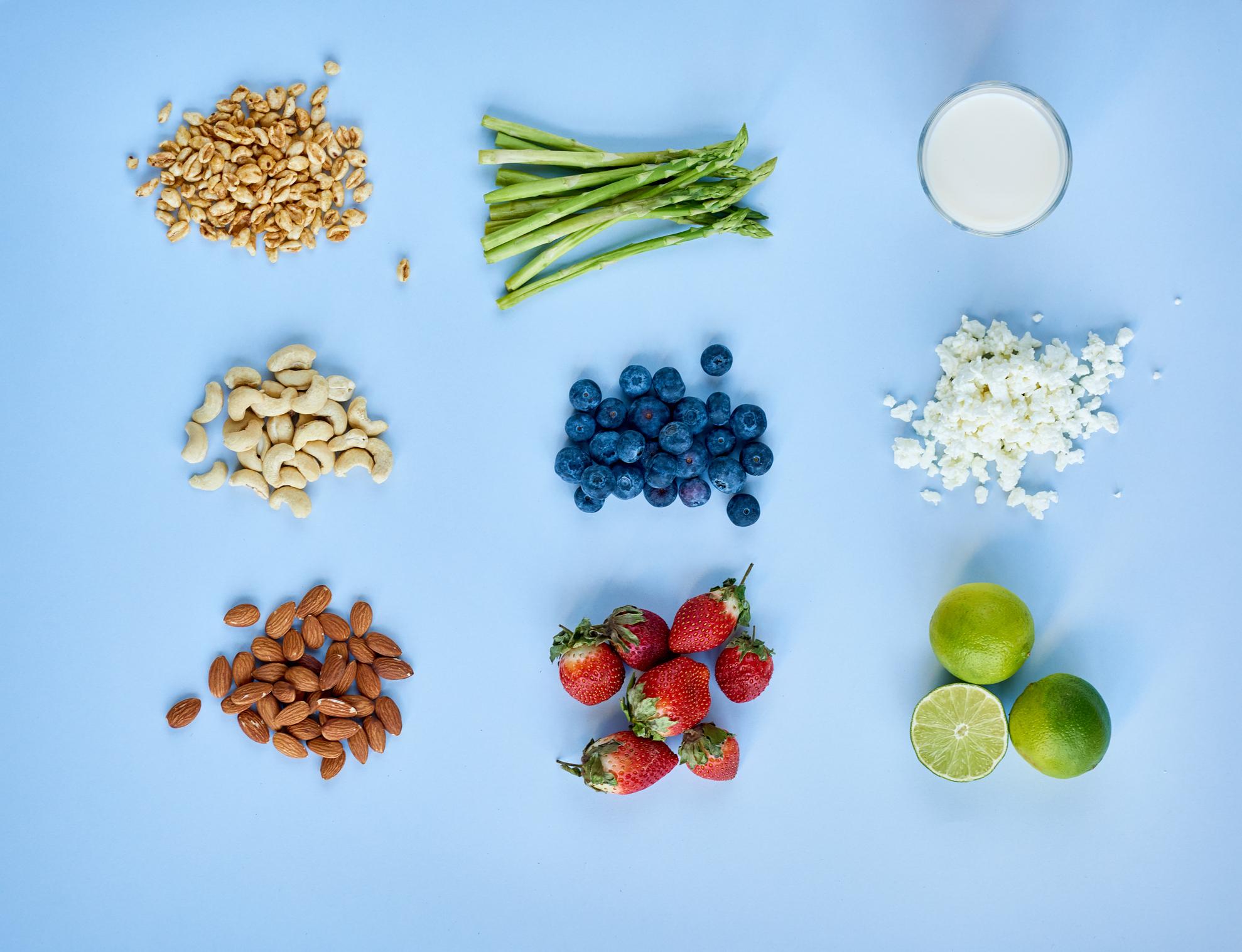 Nine handfuls with healthy food