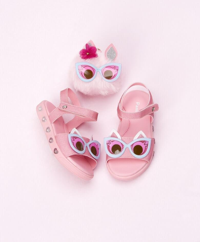 Sandália cor de rosa da coleção Dots