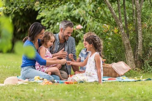 Família brincando durante um pique-nique