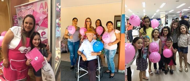 Fotos da ação do projeto Nação Rosa