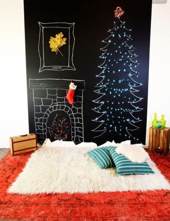 Árvore de natal desenhada com giz